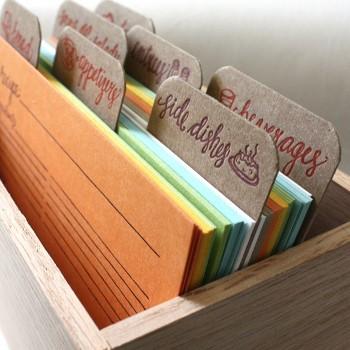 tarjetas para recetas + caja