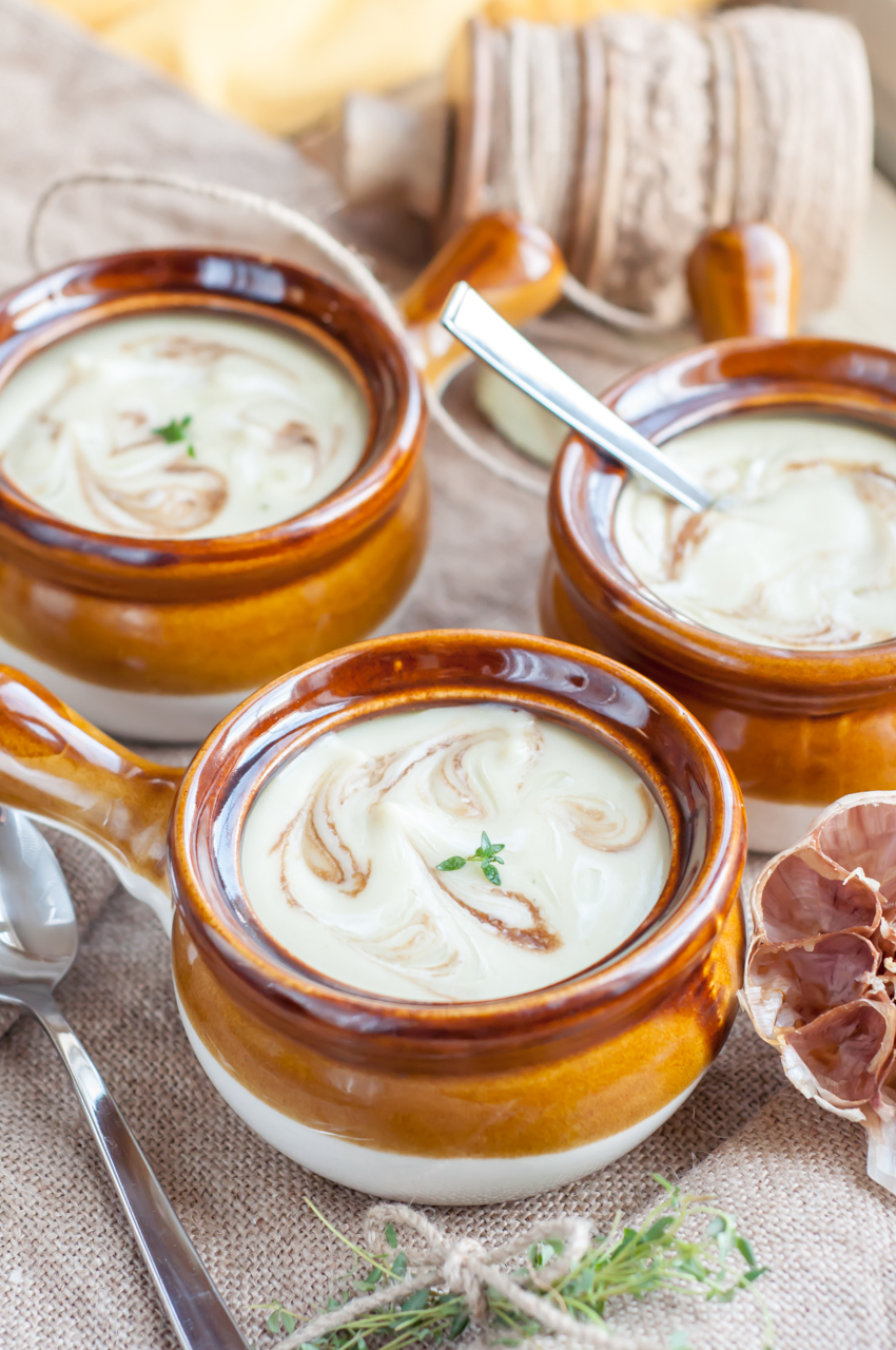 ... to create luxurious and creamy roasted garlic and cauliflower soup