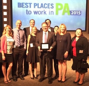 Team receives Best Places to Work PA award in 2015