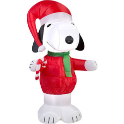 peanuts chirstmas snoopy with candy cane blowup inflatable lawn decoration