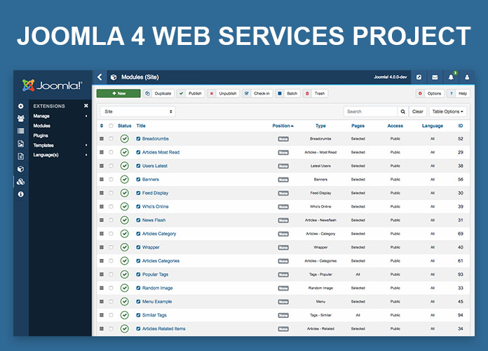 Joomla 4 web services project