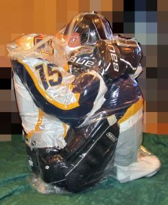 Keep hockey players fresh - Vaccumed Breath Controlled Space Bag Guy