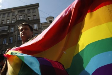Protest by russian gay rights activist