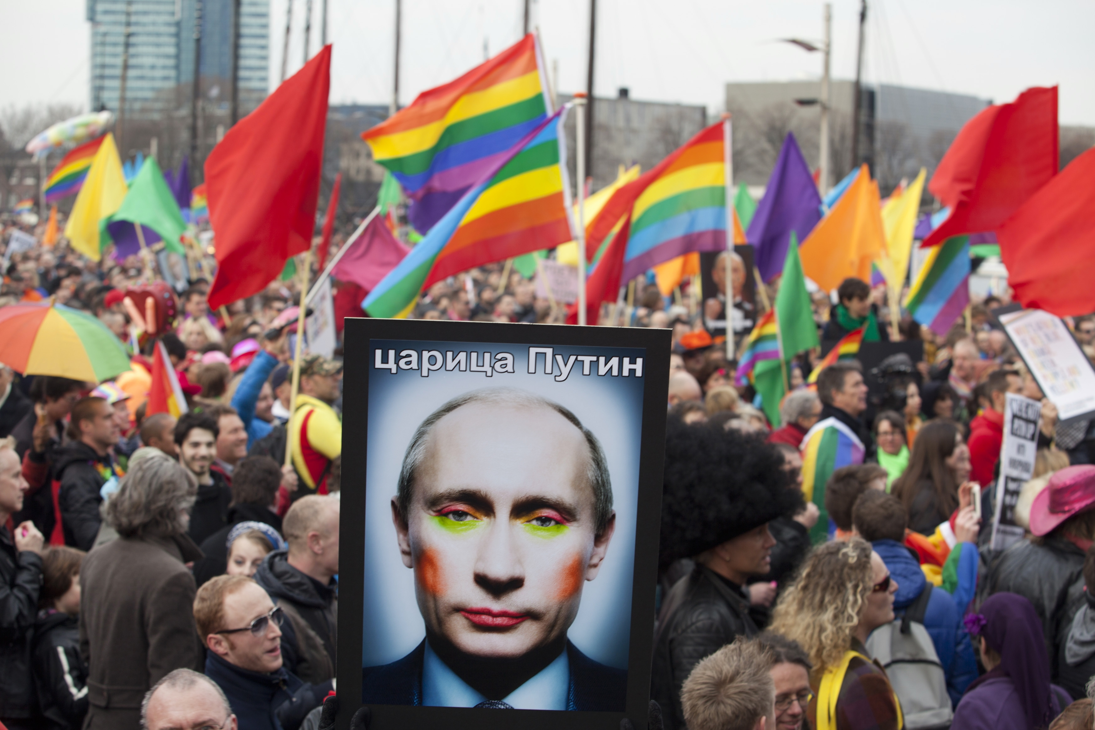 Putin's poster in protest against anti-gay russian law