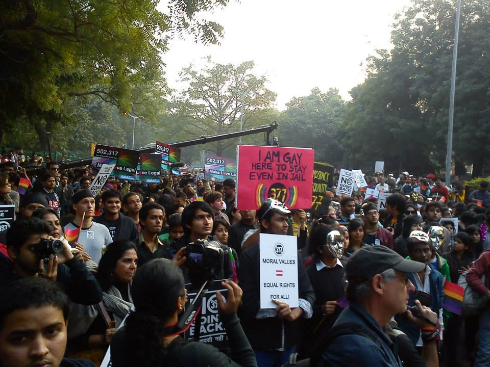 gay groups protest in delhi