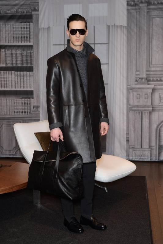 TRUSSARDI BLACK LEATHER COAT