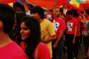 Participants walking the pride in Bangalore in 2013