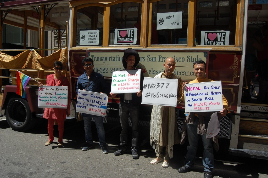 Activists at San Francisco Pride demands Pm Modi to scrap Sec 377 (Pic courtesy Trikone)