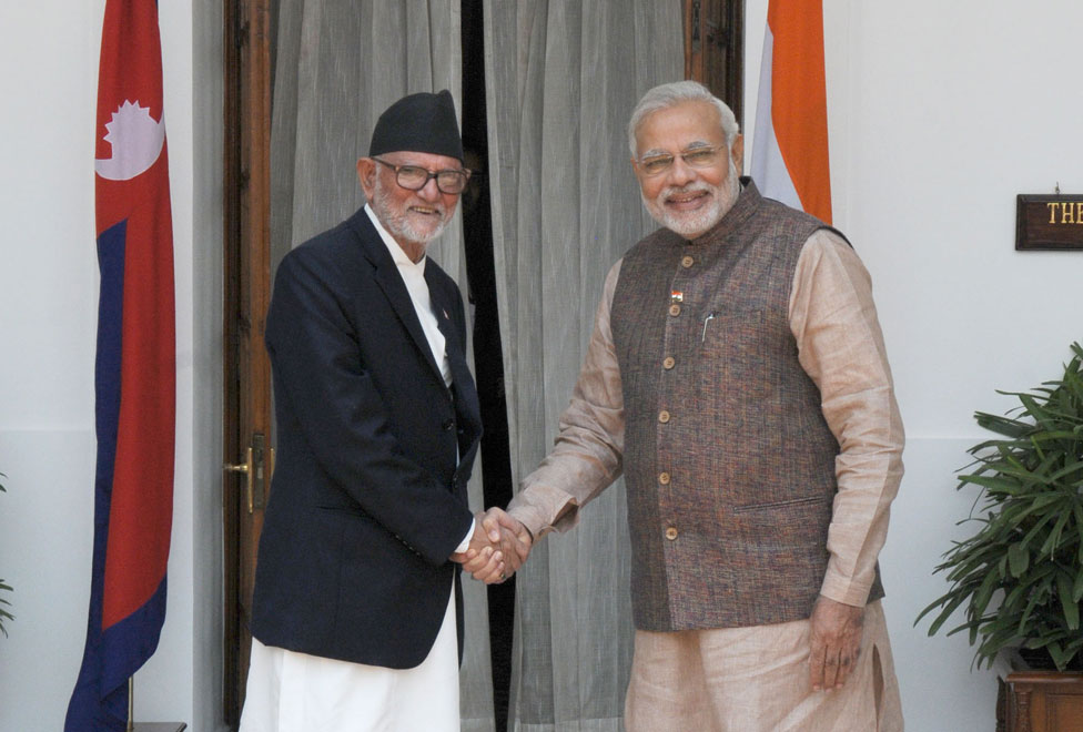 Indian PM Narendra Modi with Nepal's PM