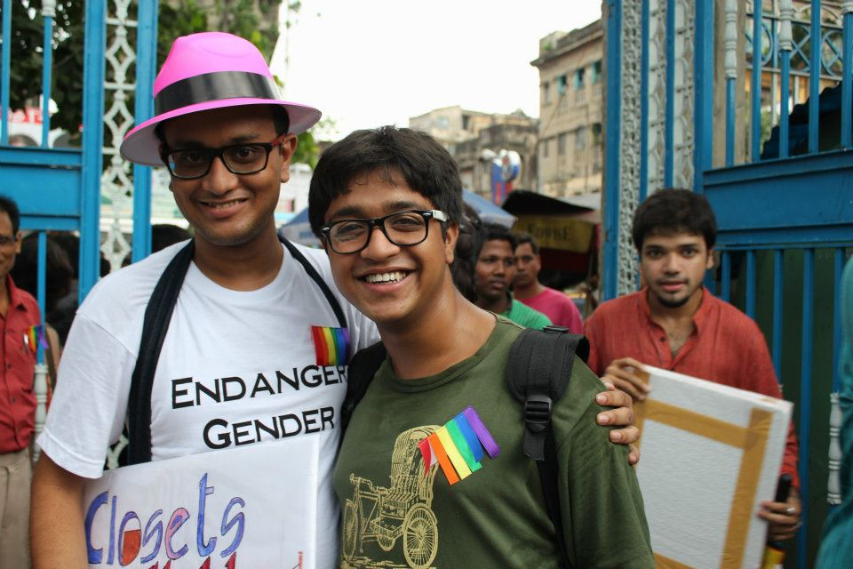 Students of Niladri Chatterjee at Kolkata Pride 2012 wearing specially designed T-shirt