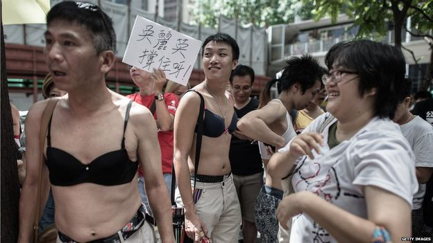 Men wearing bras in Hong Kong to protest against the Breast Assault verdict