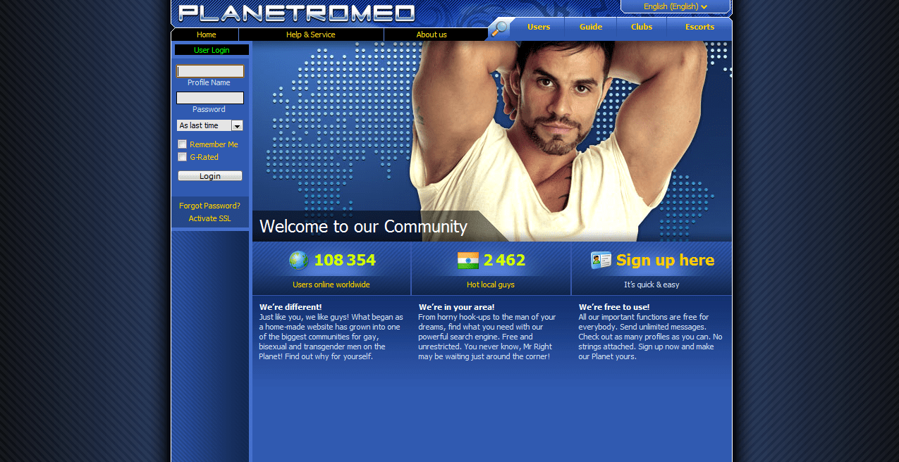 PlanetRomeo_login_webpage_screenshot