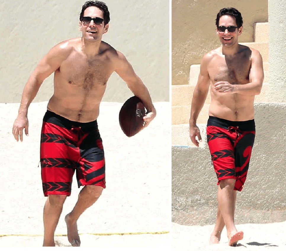 shirtless, paul rudd, beach, hairy