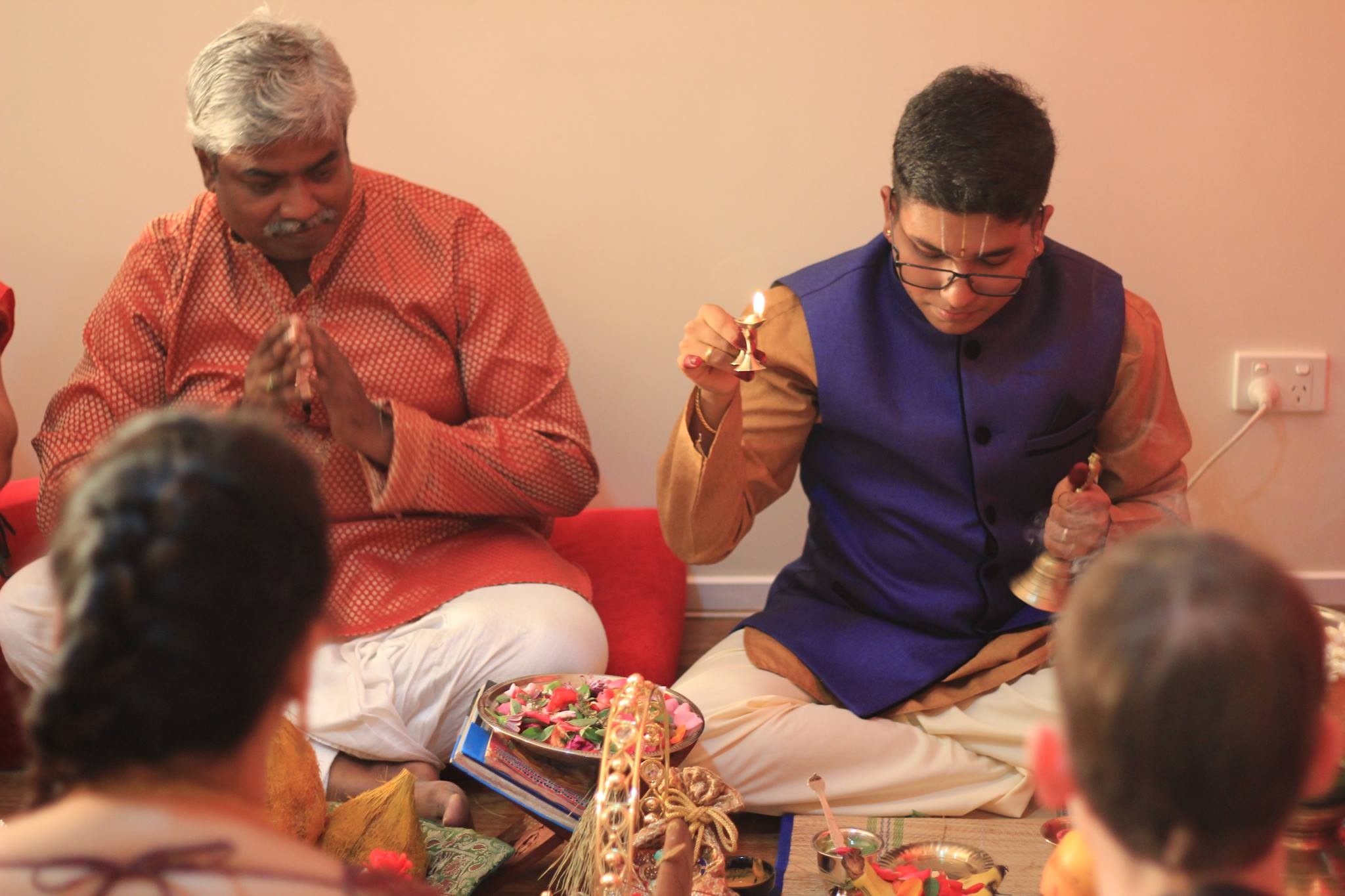 Since no priest agreed to perform the ceremony, Salaphaty (who is a trained priest) himself officiated the Niscayatharta Ceremony with Vishvakshena Aradhana and Varuna Puja