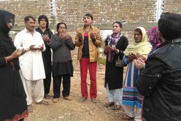 Nadeem Kashish, in the center with other transgenders and allies praying before laying the first stones for the trans- friendly mosque. (Photo Credits : Nadeem Kashish)