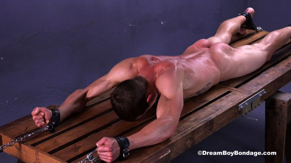 Dream Boy Bondage: Sexy jock Jared screams in agony as he gets flogged and stretched.