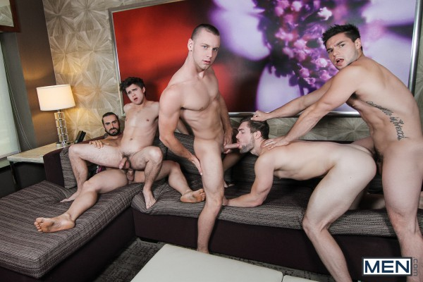 Men.com's Jizz Orgy: What a hot orgy with Aspen, Griffin, Will, Brandon and Jaxton!