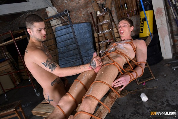 Boy Napped: Sexy Mickey Taylor gives Billy Rock a special waxing.