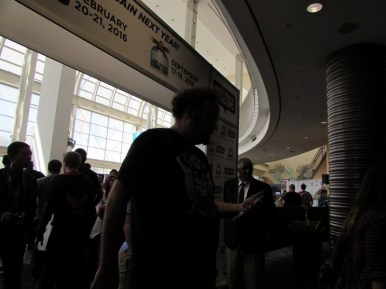 Yes, I took a creeper photo of Jon Schnepp as he passed by us...