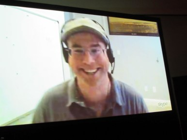 Andy Weir Skyping into the Artemis panel at NYCC 2017