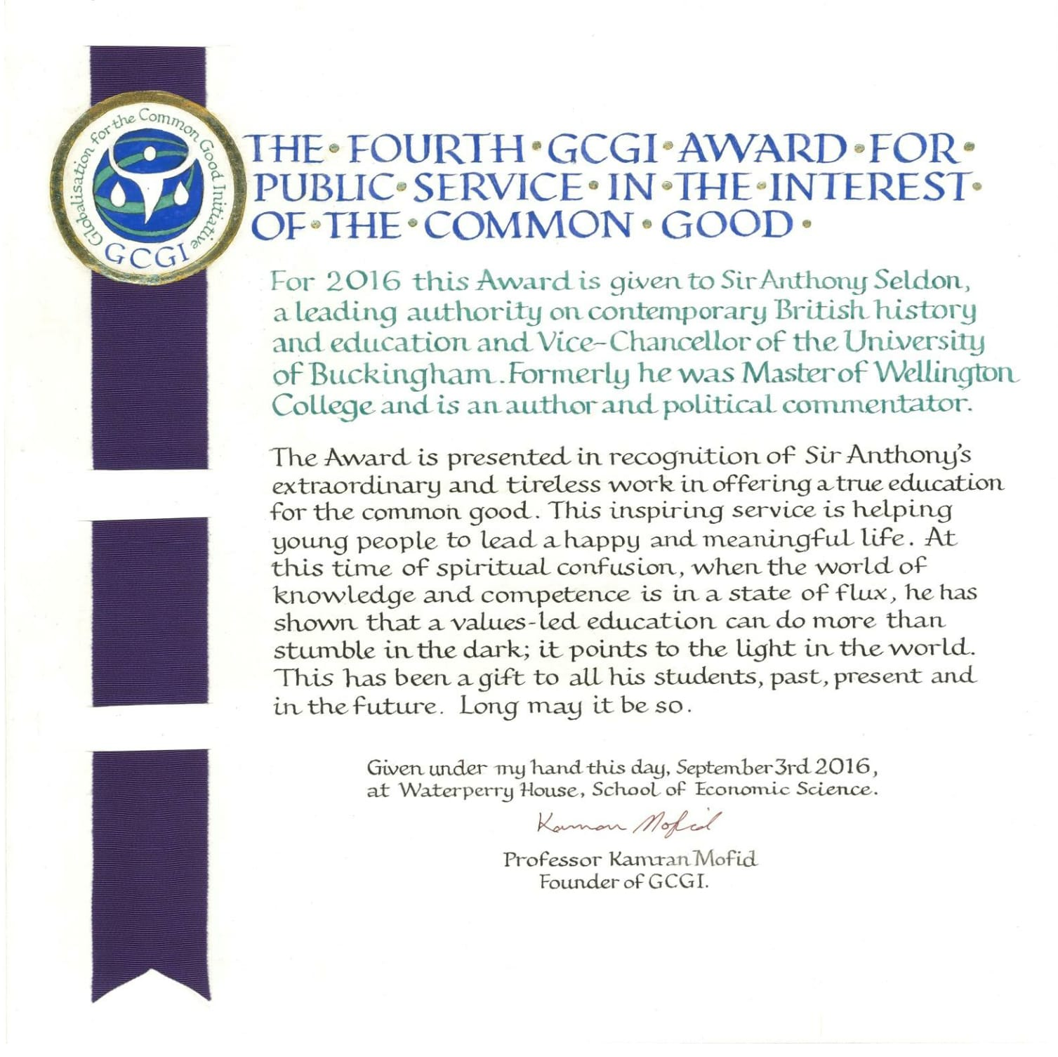 The award was presented to sir anthony at the conference gala dinner hosted at waterperry house on the evening of saturday 3rd september 2016