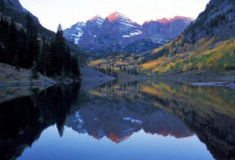 Wallpaper Sunrise At Fall Maroon Bells Maroon Lake Aspen Colorado Fall Colors
