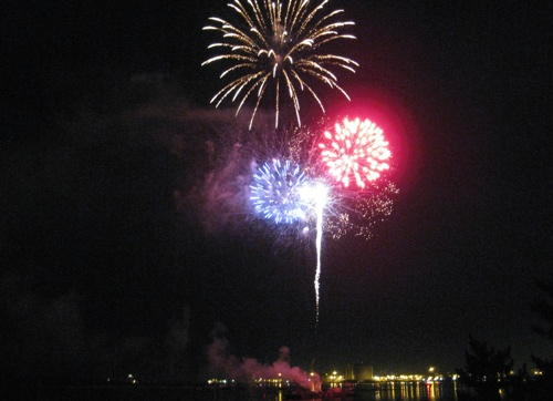 2010 Fireworks display viewed from the deck at the Community Boating Center