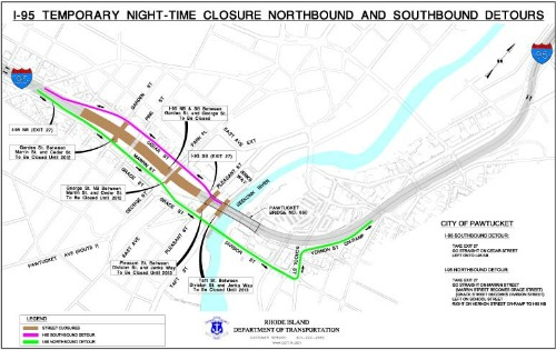 Pawtucket Route 95 closure and detour map