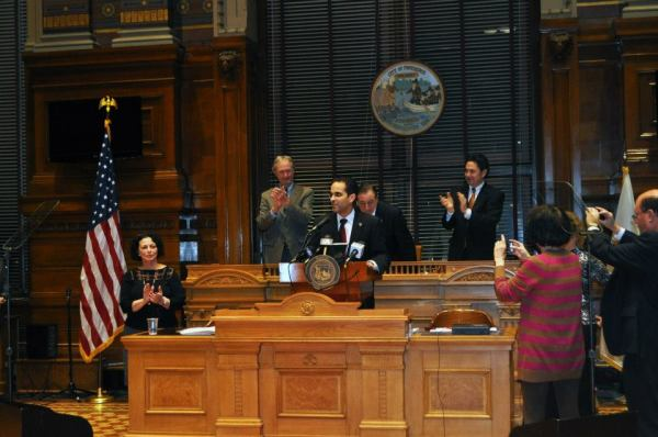 Photo of the Mayor delivering the State of the City from the Mayor's Office.