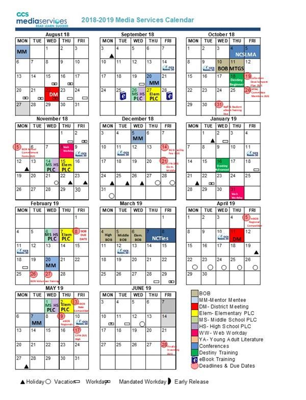 Library Media Services / LMS Yearly Calendar of Events