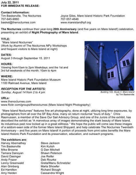 """Mare Island Nocturnes"" Night Photography Exhibit Press Release"
