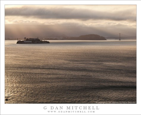 Alcatraz and Yerba Buena Islands, San Francisco Bay, Foggy Morning Light - San Francisco Bay morning fog over begins to break up over Alcatraz and Yerba Buena Islands and the San Francisco Oakland Bay Bridge.