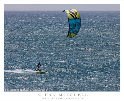 Kitesurfer, Pacific Ocean - Kitesurfer on the Pacific Ocean coast south of San Francisco, California.