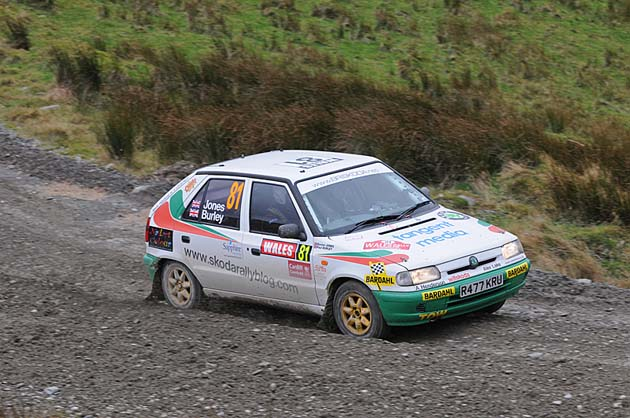 leaning into the corners at Wales Rally GB