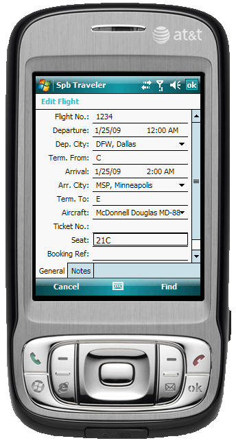 Figure 11:  Entering in Flight information into Traveler