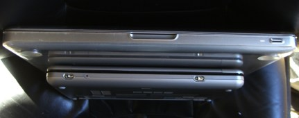 "HP 2140 and 13"" MacBook End View"