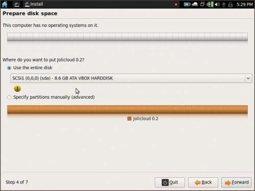 Jolicloud installer2