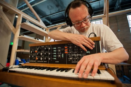 Moog Pop-Up Factory building new Minimoog Model D synthesizers