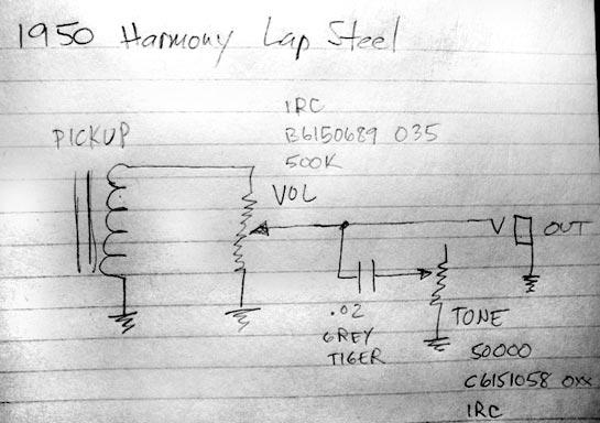 Harmony H1 or H601 lap steel guitar wiring diagram - Gearslutz