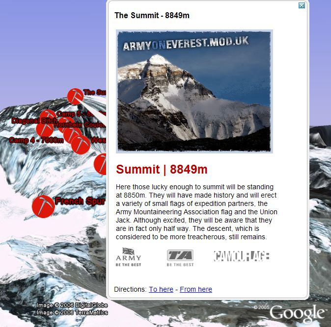 British Army on Everest in Google Earth