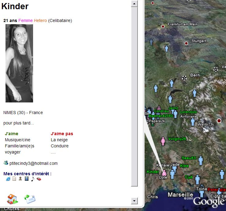 Dating Service in Google Earth