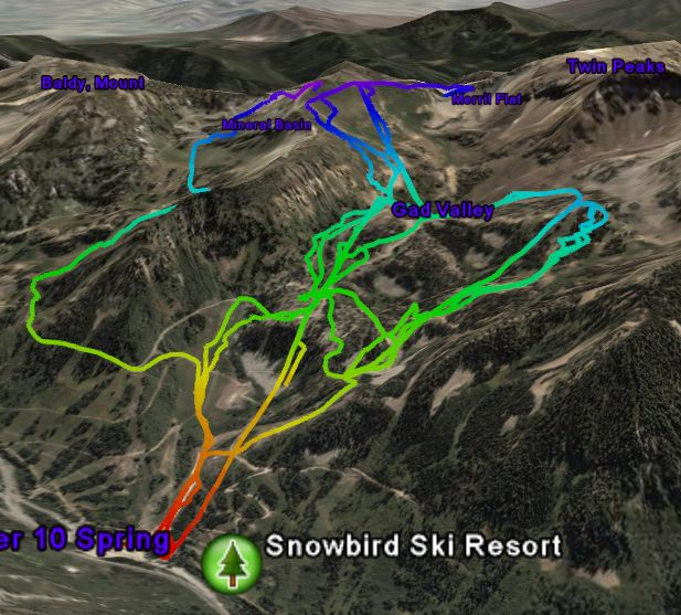 Skiing Alta GPS track  in Google Earth