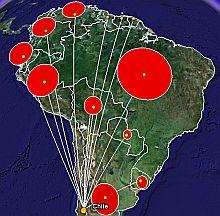 South America Trade in Google Earth