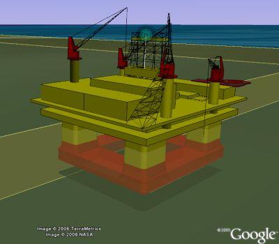 Thunderhorse oil platform in Google Earth