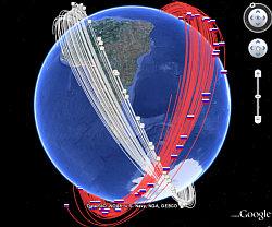 Satellite collision debris in Google Earth