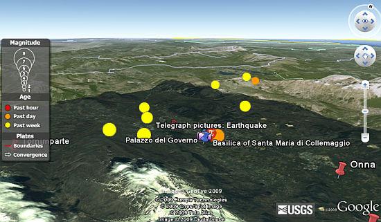 L'Aquila Earthquake in Google Earth