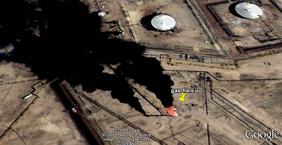 Gas Flares in Google Earth
