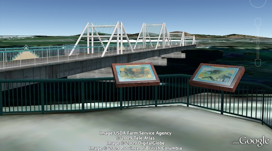 Bridge in Washington in Google Earth