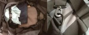 L: Internal straps R: Adjustable & removable shoulder strap