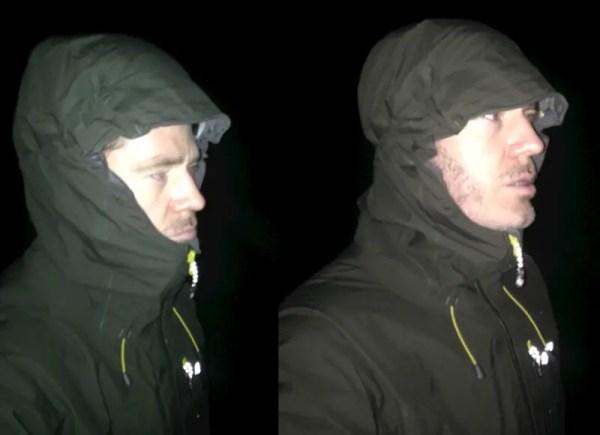 Sprayway Zeus jacket hood with helmet (L) & without (R)